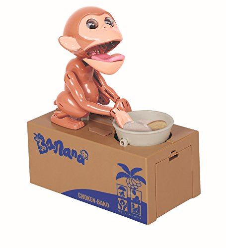 Virtuous cool gadgets monkey stealing money box coin bank for Plastic piggy banks for kids