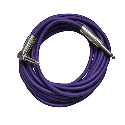 Seismic Audio SAGC20R-Purple Purple 20-Feet Right Angle to Straight Guitar Cable by Seismic Audio