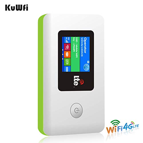 KuWFi 4G LTE Travel Router 100Mbps Mobile WiFi Hotspot Pocket Portable Wireless Unlock Mini Wi-Fi Modem with SIM Card Slot Not Including SIM Card Support FDD B1/B3/B7/B8/B20 (Modem Sim Unlock)