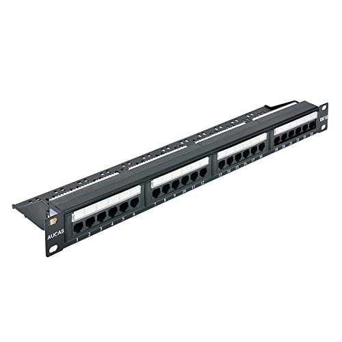 Cat5e 24 Ports UTP Patch Panel Frame 50U Electroplate with Dust-Proof Cap Wallmount or Rackmount Blank Keystone Jack Patch - Port 24 5 Category Patch