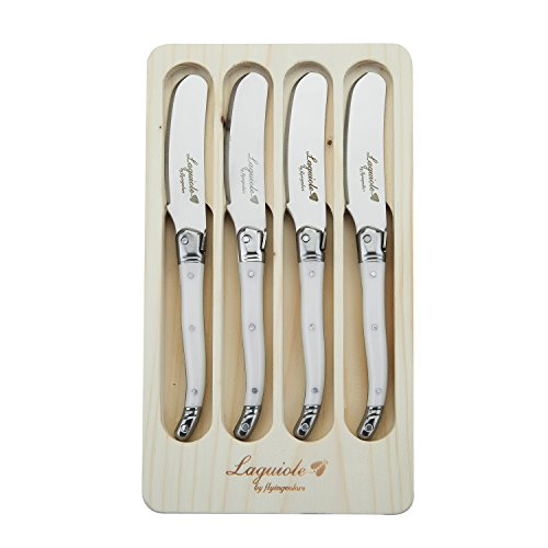 FlyingColors Laguiole Butter Knives / Spreaders Set, Stainless Steel,White, 4 Piece by Wirezoll