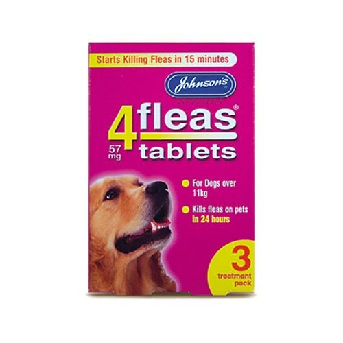 Johnsons 4 Fleas Tablets for Dogs Over 11kg x 3 Tablets 30g - Bulk Deal of 6x