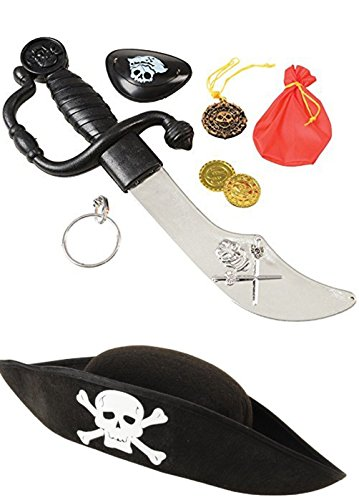 Pirate Costume Accessory Set (8 Pieces) Costume Pirate Hat, Eye Patch - Perfect For Pretend Play, Theme Party]()