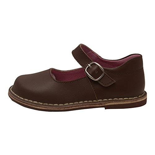 L'Amour Little Girls Brown Classic Matte Leather Mary Jane Shoes 10 Toddler