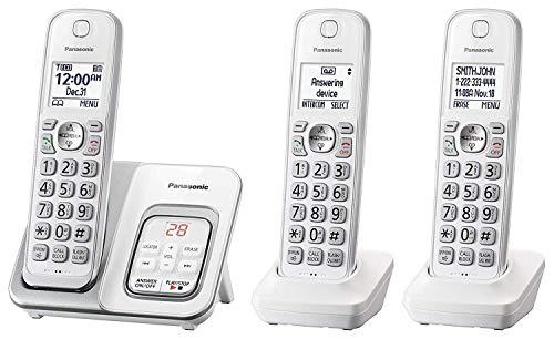 Panasonic KX-TGD533W Cordless Phone with Answering Machine - 3 Handsets (Renewed)