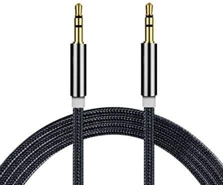 ONX3 (Black) Premium Quality Nylon Braided 3 Meter Length Gold Plated 3.5 mm Jack To Jack Connection Aux Auxiliary Audio Cable for Lenovo A3900