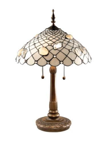 Dale Tiffany TT60055 Tiffany Shells Table Lamp, Antique Brass and Art Glass Shade ()