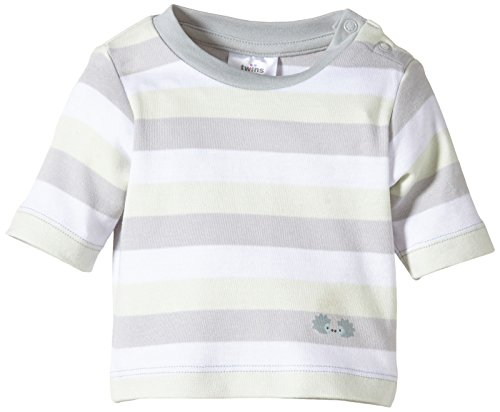 Twins Unisex Baby - Langarmshirt, Gestreift, Gr. 80, Mehrfarbig (hellgrau)