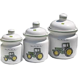 Amazon Com John Deere 3 Pc Ceramic Canister Set