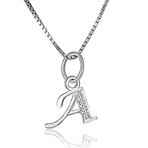 925 Sterling Silver Charms Pendant Neclace Boruo Cubic Zirconia A-Z Initial Letters Alphabet Dangling With 18 Inch 925S Chain (Letter--A)