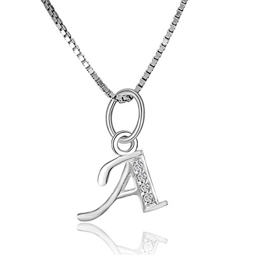 925 Sterling Silver Charms Pendant Neclace Boruo Cubic Zirconia A-Z Initial Letters Alphabet Dangling With 18 Inch 925S Chain (Letter--A) (Good Presents For Moms compare prices)