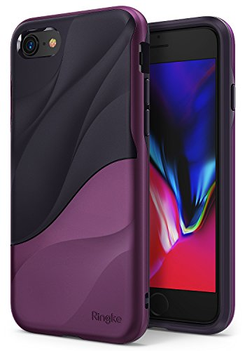 Ringke Wave Compatible with iPhone 8, iPhone 7 Phone Case Dual Layer Heavy Duty Textured Shock Absorbent PC TPU Full-Body Drop Resistant Protection Ergonomic Design Cover - Metallic Purple