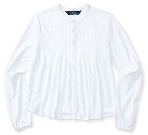 Lauren Cotton Blouse (Ralph Lauren Girl's 7-16 Cotton Pleated Long Sleeve Shirt Top (S(7), White))
