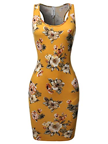 (Floral or Camouflage Printed Body-Con Racer-Back Mini Dress Mustard2)