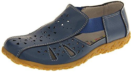 Bleu d'Eté Femmes Fermé Coolers Bout Cuir Sandales Bleuet Ww0UqxOFqn