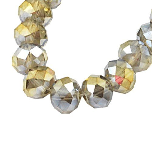70+ Grey/Rainbow Czech Crystal Glass 8 x 10mm Faceted Rondelle Beads - (HA20865) - Charming Beads (Rondelle Faceted Rainbow Beads Crystal)