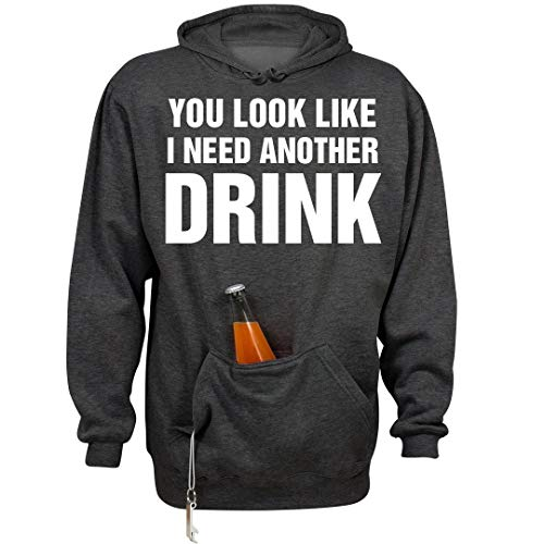 Butter Face: Unisex Beer Holder Tailgate Hoodie Charcoal Heather ()