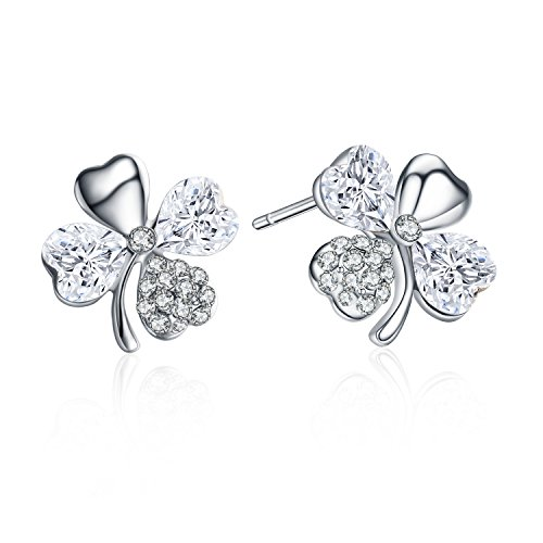 Four Leaf Clover Costume (SBLING Rhodium Plated Four Leaf Clover Heart Shaped Stud Earrings Made with Swarovski Crystals(2 cttw; White)