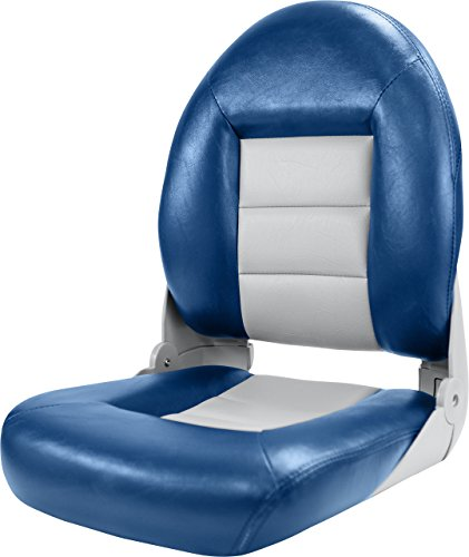 Tempress NaviStyle High Back Seat, Blue/Gray (Pontoon Folding Boat Seats)