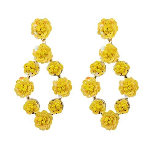 COIRIS Staement Sequin Flowers Dangle Drop Stud Earrings For Women (ER1070-AB (Lemon Sequin)