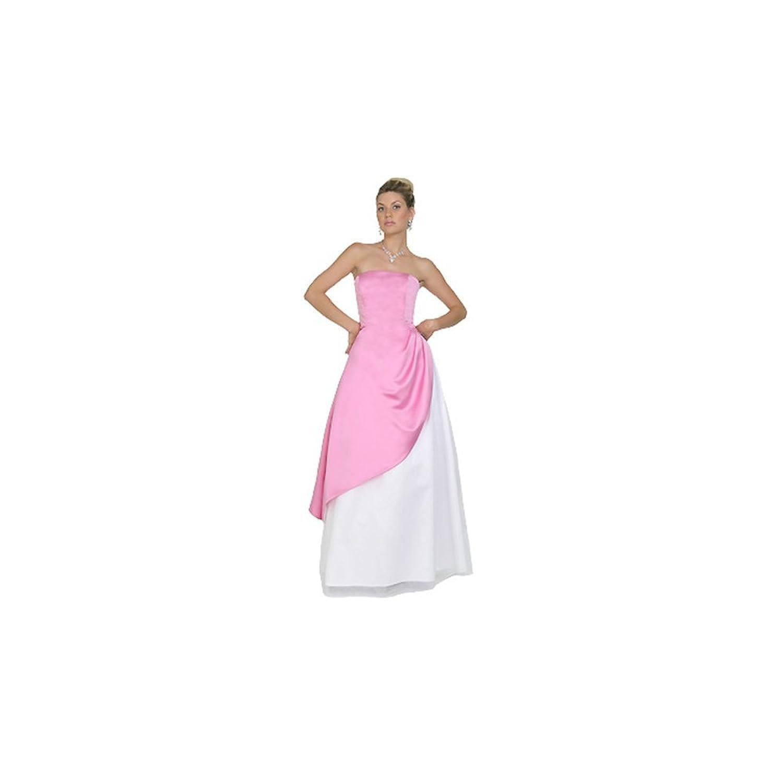Odette Christiane 987 Pink Satin & White Tulle Strapless Gown