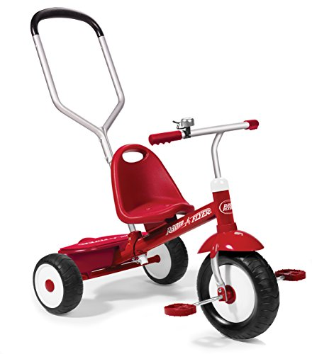 Radio Flyer Deluxe Steer & Stroll Trike, Red