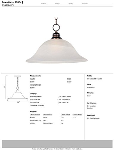 Maxim 91076MROI Essentials 1-Light Pendant, Oil Rubbed Bronze Finish, Marble Glass, MB Incandescent Incandescent Bulb , 100W Max., Damp Safety Rating, Standard Dimmable, Glass Shade Material, 8050 Rated Lumens by Maxim Lighting (Image #1)