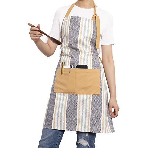 (NEOVIVA Durable Cotton Apron for Women with Adjustable Neck Strap and Extra Long Tie, Lovely Kitchen Bib Apron for Cooking and Baking, Striped Moon Mist Gray )