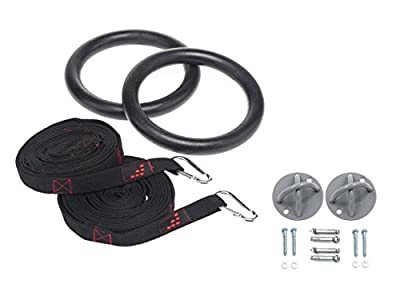 Gymnastic Training Equipment - Rings for Crossfit Training - Gymnastic Strength Training Equipment with Ceiling Mounts