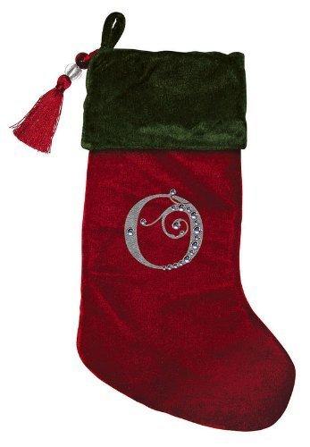 Christmas Stocking Red & Green Velvet With Tassel, Rhinestone Monogram (O) (Evergreen Stocking)
