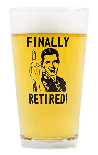 Funny Retirement Gift - Finally Retired! (Middle Finger) - Novelty Beer Glass -
