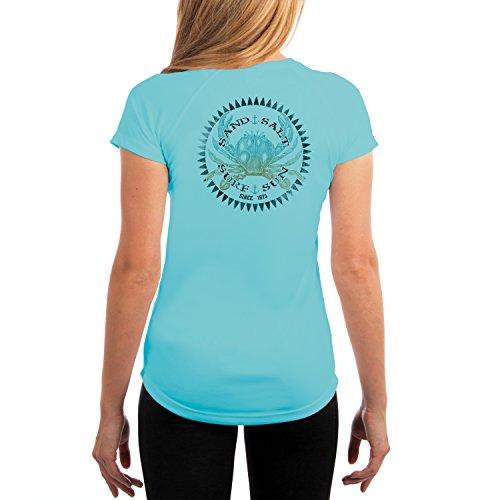 Vintage Crab Women's UPF 50+ Short Sleeve T-Shirt Medium Water Blue ()