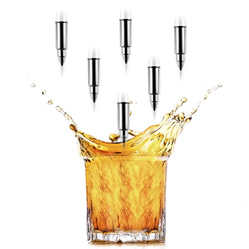Y&R Direct 6 PCS Premium Whiskey Stones Bullet Shaped Whiskey Rocks FDA-approved Stainless Steel Ice Cubes, Whiskey Chillers with Ice Tongs and Velvet Bag by Y&R Direct (Image #7)