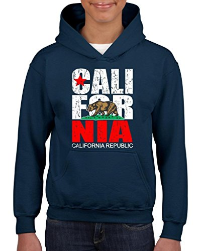 Xekia California Republic Vintage Cali CA Hoodie For Girls and Boys Youth Kids Small Navy Blue