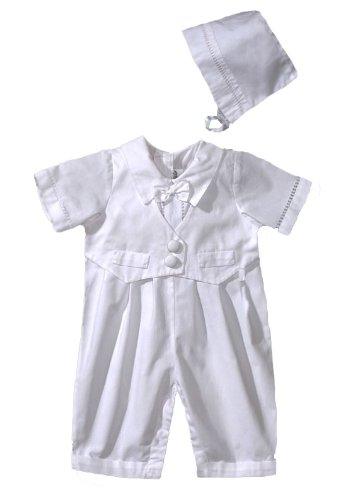Christening One Piece Romper with Vest and Hat