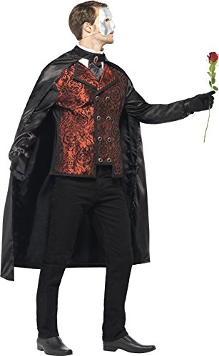 Smiffy's Men's Dark Opera Masquerade Costume, Cape, Mock Shirt, Mask, Gloves and Faux Rose, Carnival of the Damned, Halloween, Size M, 24574 by Smiffy's (Image #3)