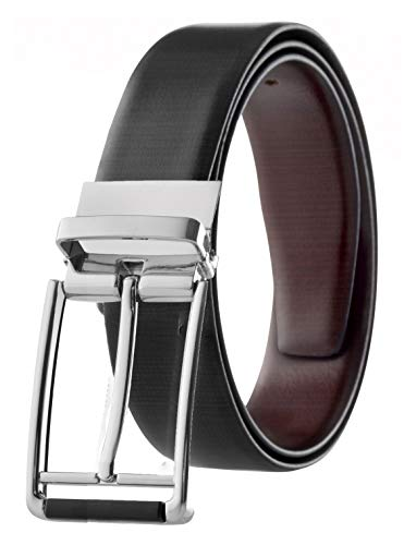 (Men's Reversible Classic Dress Belt Italian Top Grain Leather Black & Brown Screen Print Design Size 36)