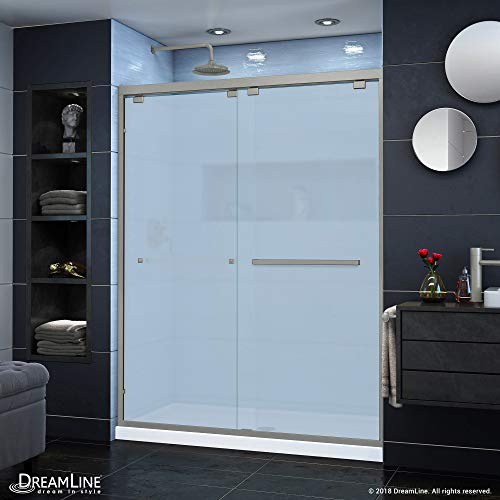 DreamLine Encore 56-60 in. W x 76 in. H Frosted Glass Semi-Frameless Bypass Sliding Shower Door in Brushed Nickel, SHDR-166076F-04