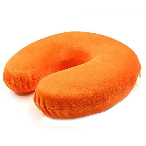 Soft Travel Pillow Memory Foam Pillow U-Shape Neck Pillow Massage Headrest for Office Flight Airplane Neck Rest,Sky Blue,Orange