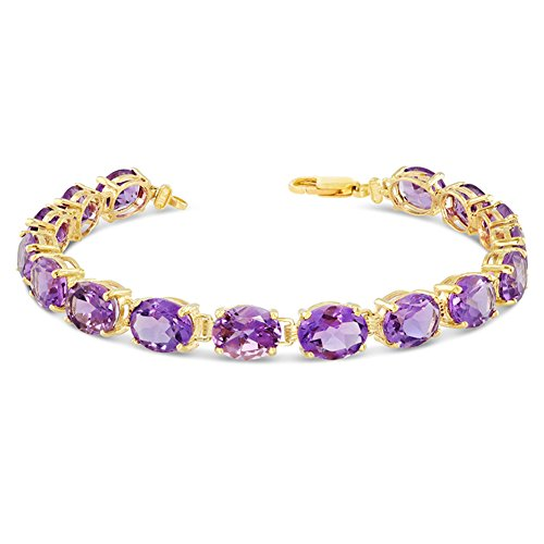 Fine 10k Yellow Gold Genuine Oval Amethyst (9x7) Tennis Bracelet (Size 6.5)