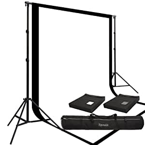 Two Prism 10x20', 100% Cotton Muslin Backdrops and The Ravelli Full Size 10x12' Background Stand Set