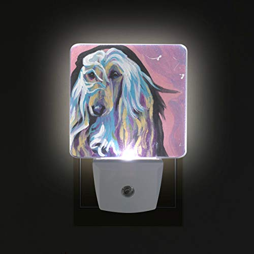 (Afghan Hound LED Night Lights with Auto Dusk to Dawn Sensor, Plug-in Warm White Wall Lights for Kids Room)