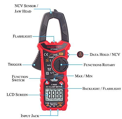 6000 TRMS Multim/ètre Compteurs Sans contact Testeur de Courant//Tension//R/ésistance//Capacit/é//Fr/équence//Continuit/é//Temp/érature//Diode Test//Plage automatique SP-Cow Pince Amp/èrem/étrique Num/ériquee