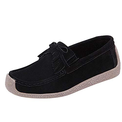 (Creazrise Women's Classic Casual Suede Leather Driving Moccasins Flat Comfortable Tassel Loafer Shoes (Black,7))