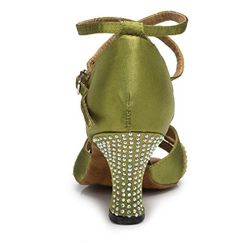 Miyoopark Womens Chunky Med Heel Satin Fashion Party Evening Sandals Green YQN3Tv