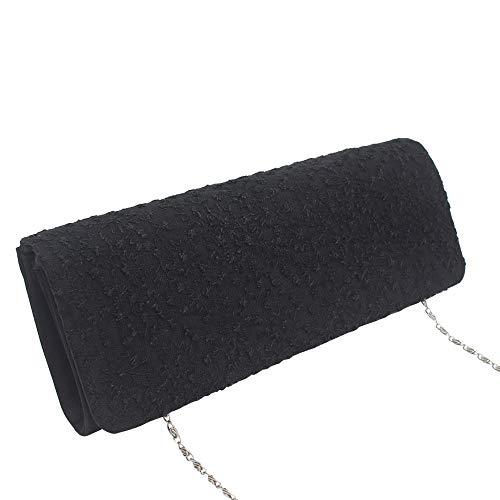 Leaves Evening Bag Chain Clutch Black Pattern Flower Shoulder Women's Wocharm Handbags 5wq6YRS
