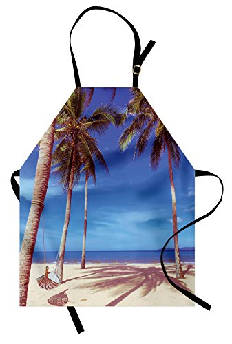 Beach Apron (Beach Apron by Ambesonne, Image of an Hammock at Golden Tropical Beach by the Ocean with Palms Surreal, Unisex Kitchen Bib Apron with Adjustable Neck for Cooking Baking Gardening, Navy Cream Green)