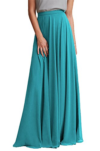 Honey Qiao Long Chiffon Bridesmaid Skirts Empire Formal Maxi Skirt Turquoise (Turquoise Long Dresses For Women)