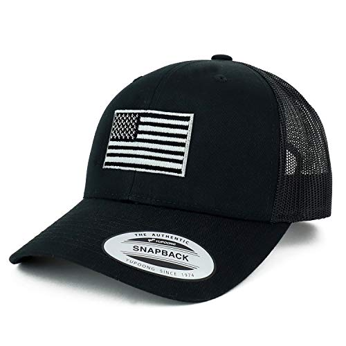 Armycrew Flexfit Oversize XXL Grey American Flag Embroidered Retro Trucker Mesh Cap