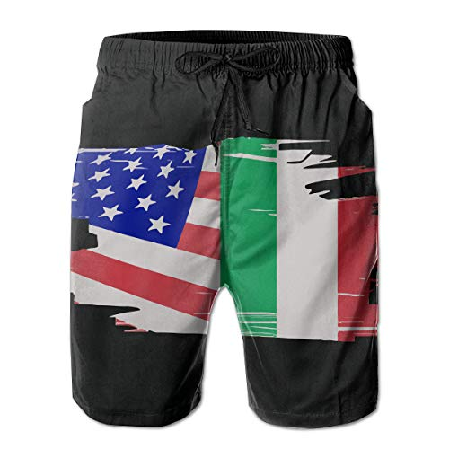 HF8MX Italian American Flag Mens Beach Shorts Swim Trunks with Pockets